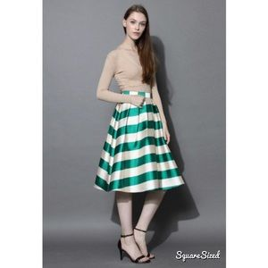 Chicwish Green Striped Midi Skirt